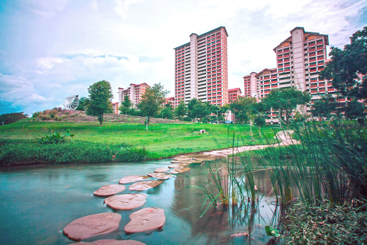 Bishan Park at the heart of the country. You could jog, stroll, cycle, play golf, even fish here.