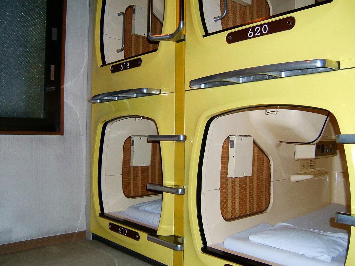 A capsule hotel in Tokyo