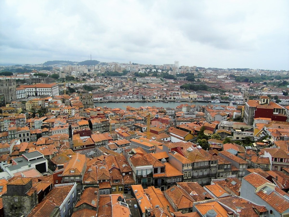 View from Torre dos Clerigos towards River Douro.