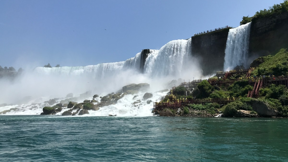 The American Falls, taken from the boat of the Horatio Hornblower attraction.
