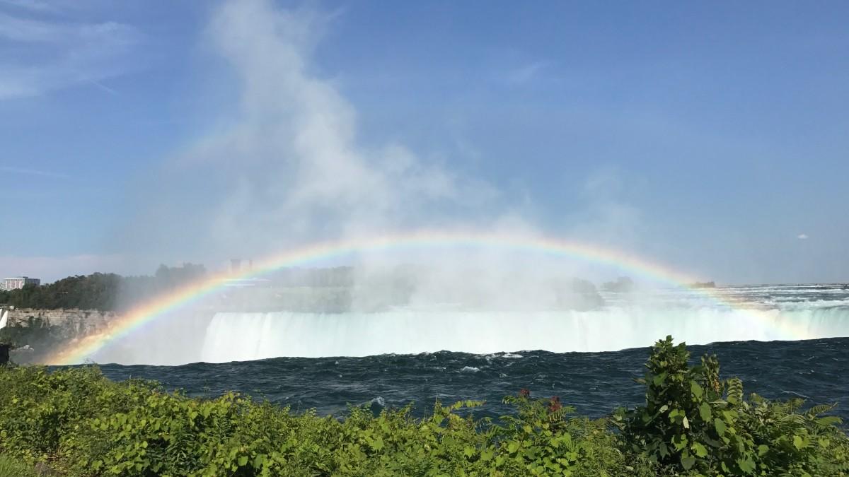 The rainbow over Horseshoe Falls.