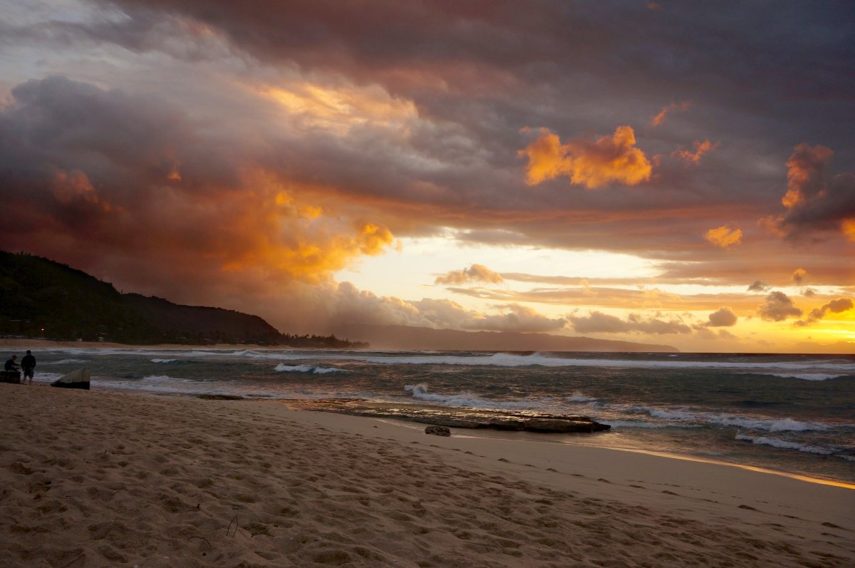 The scenic Sunset Beach on Oahu's North Shore.