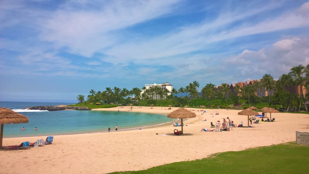 The beach at Ko Olina is not as crowded as other beaches in Oahu.