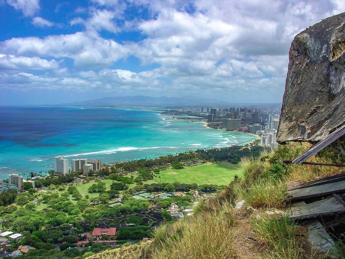 View of Honolulu from Diamond Head volcano.