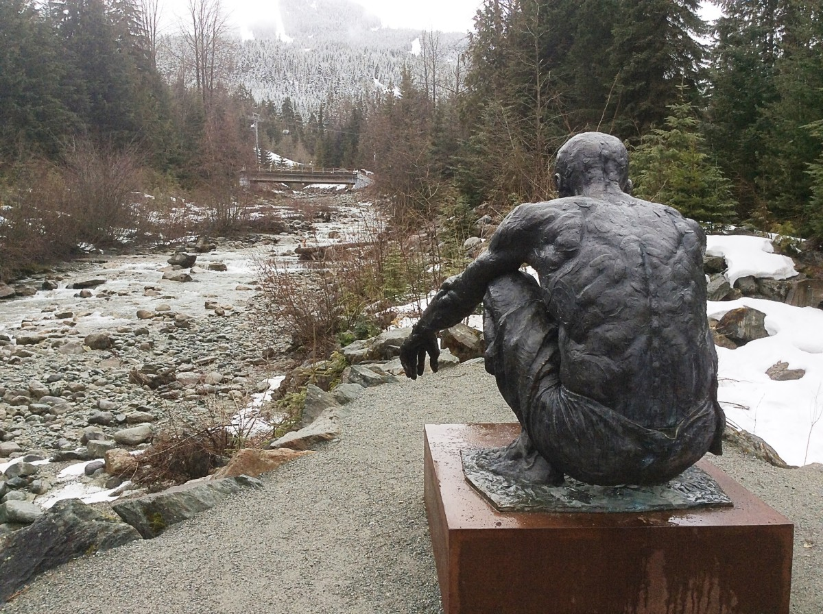 The sculpture and Fitzsimmons Creek in late winter