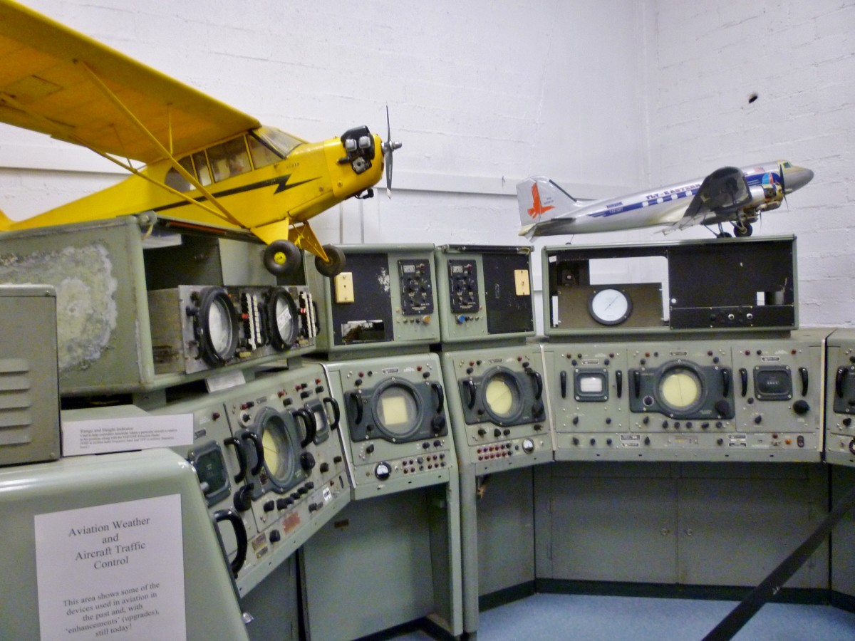 Aviation weather & aircraft traffic control machinery at 1940 Air Terminal Museum Hangar