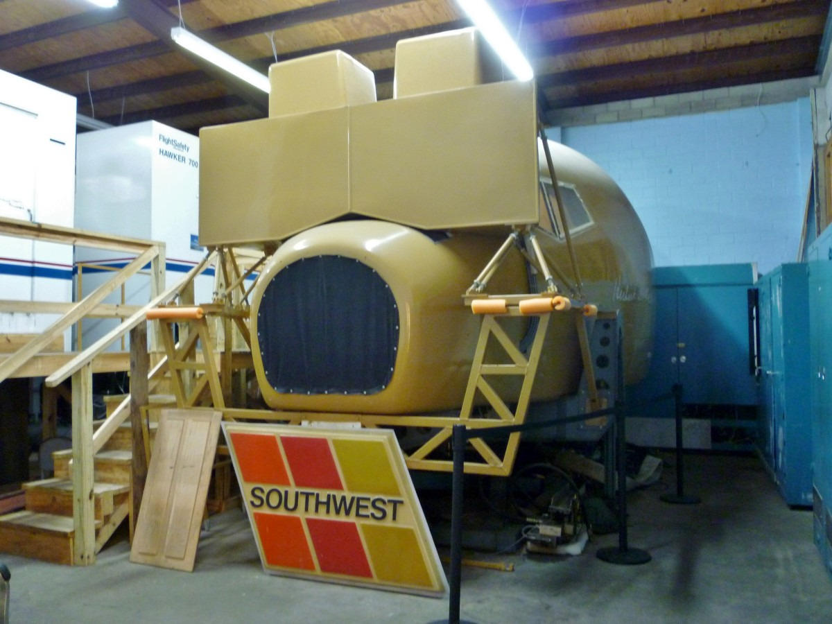 Exterior of flight simulator at 1940 Air Terminal Museum Hangar