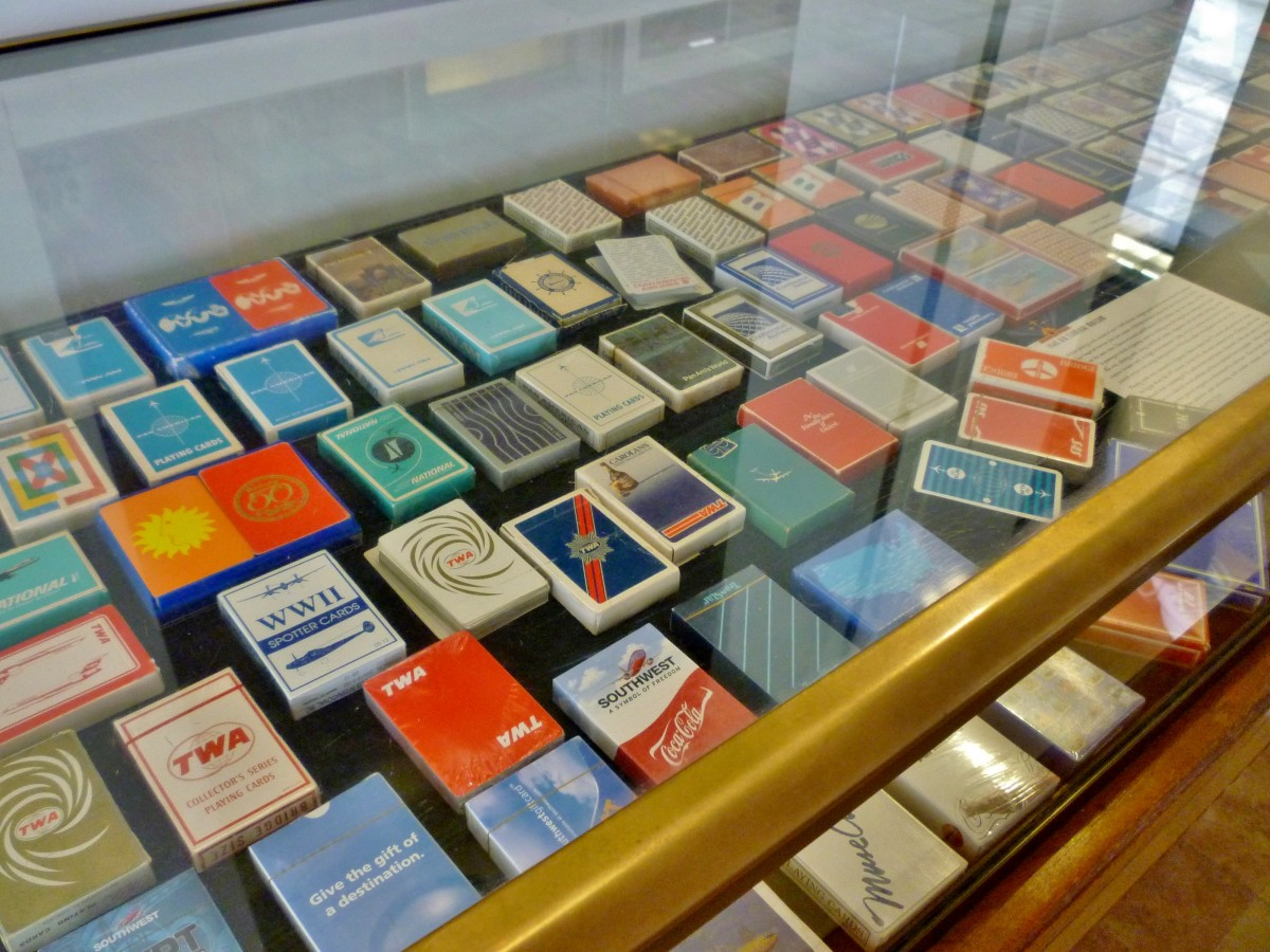 Display of playing cards distributed by different airlines at 1940 Air Terminal Museum
