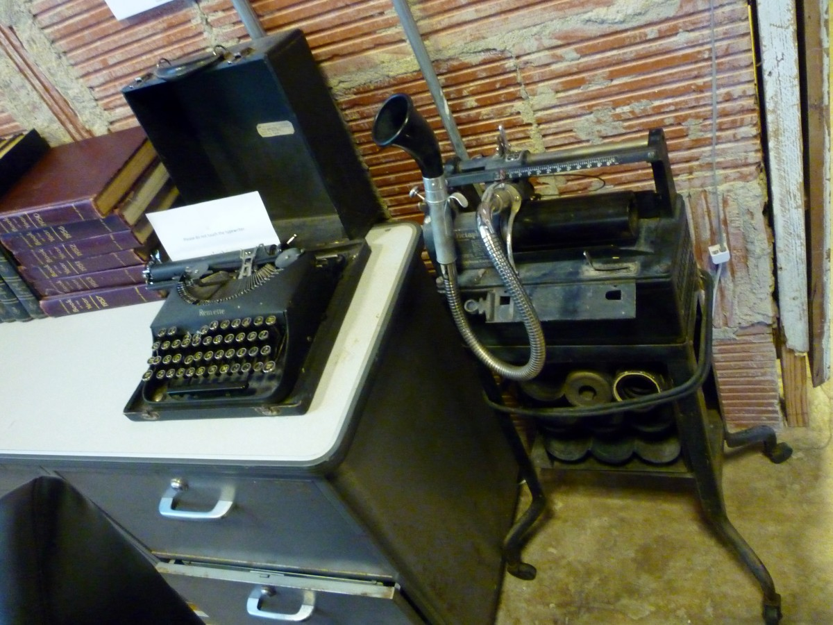 Vintage equipment on display inside 1940 Air Terminal Museum