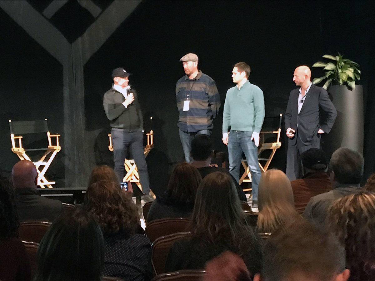 From left to right: Maven CEO James Heckman, HubPages CEO Paul Edmondson, Say Media CEO Matt Sanchez, and Maven President Josh Jacobs.
