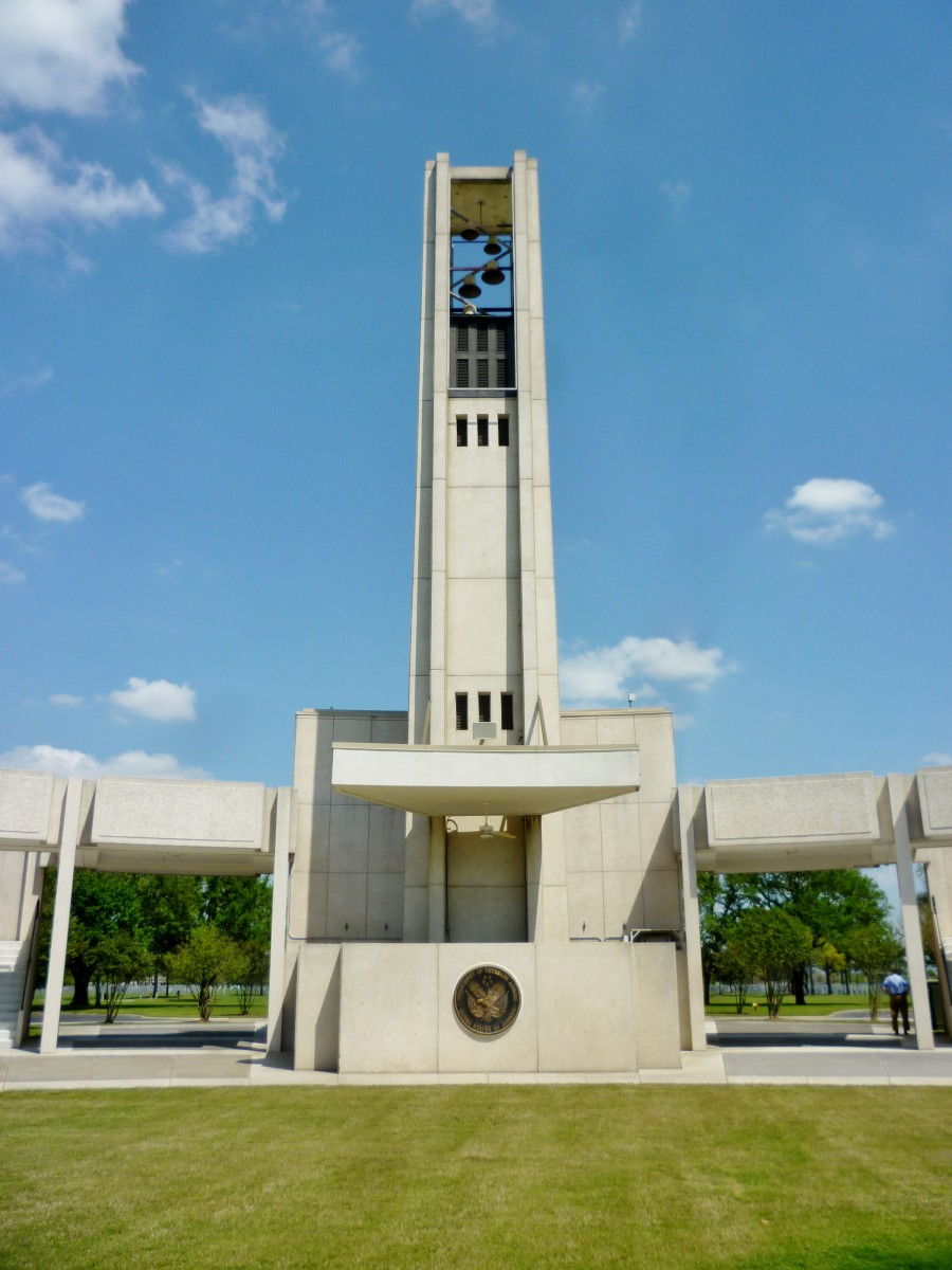 75 foot tower with carillon at Houston National Cemetery