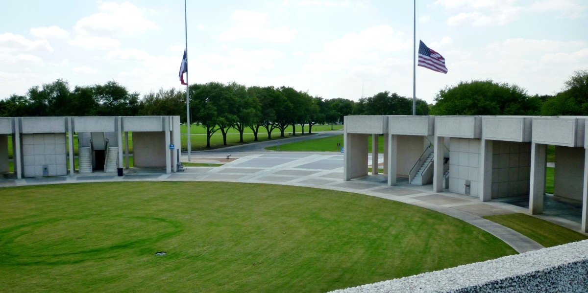 Inside partial view of Hemicycle monument at Houston National Cemetery from 2nd level on top
