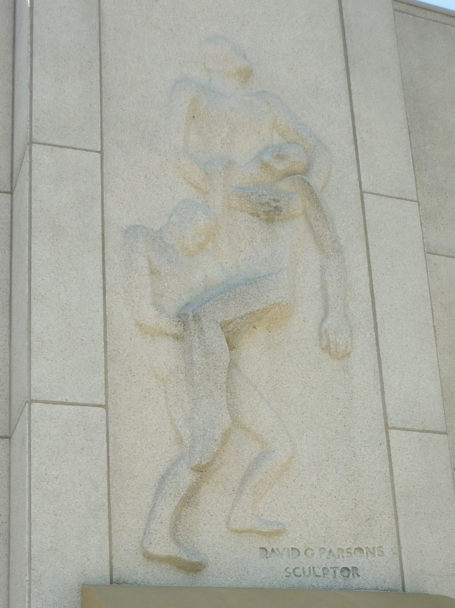 Bas relief sculpture above chapel entrance door at Houston National Cemetery