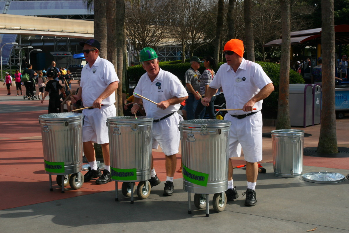 Usually stationed near Spaceship Earth, the Jammitors pretend to be maintenance workers. When one starts drumming, the rest join in for a fun show.