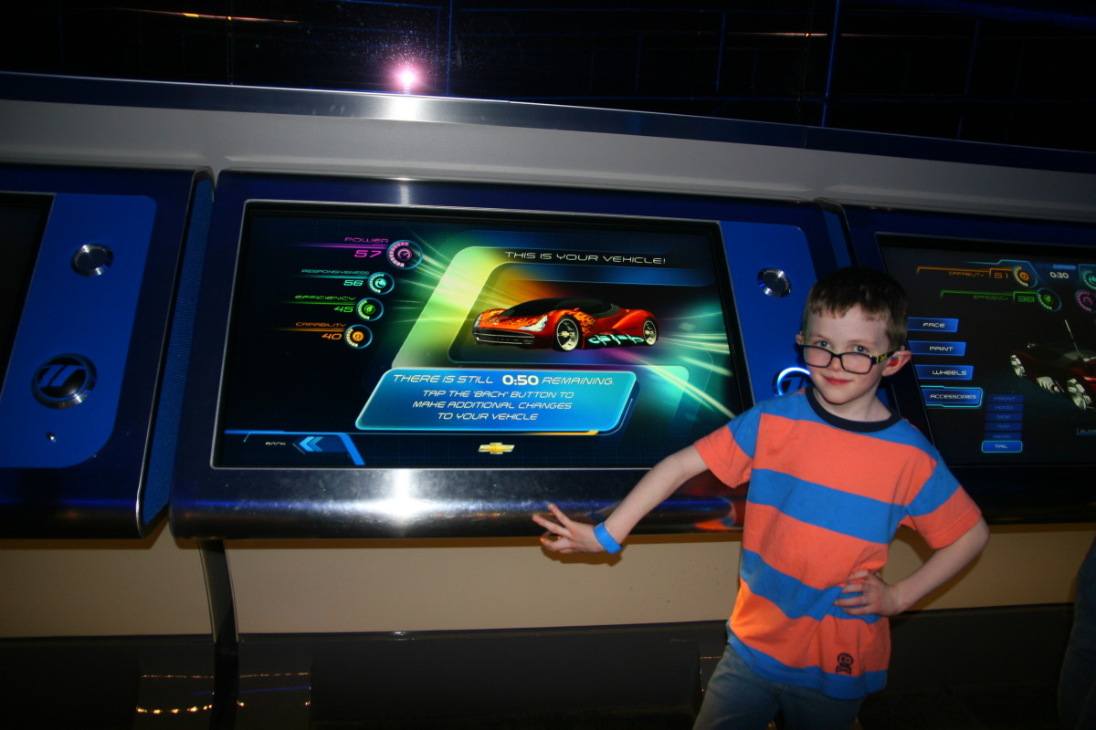 "My boys both absolutely adore Test Track, one of the few ""thrill rides"" in Epcot. While the cars do travel quickly, there are no sudden drops or inversions on this ride. Test Track is a perfect first thrill ride for kids."
