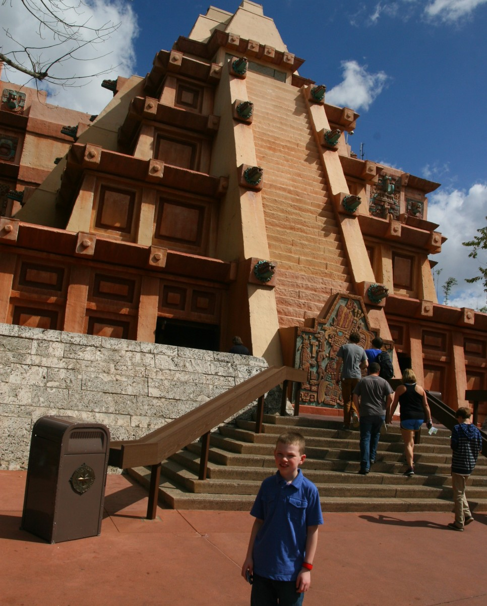 The pavilion in Mexico is mostly inside the large pyramid. In addition to the Grand Fiesta Tour, the San Angel Inn restaurant is fun for young kids.