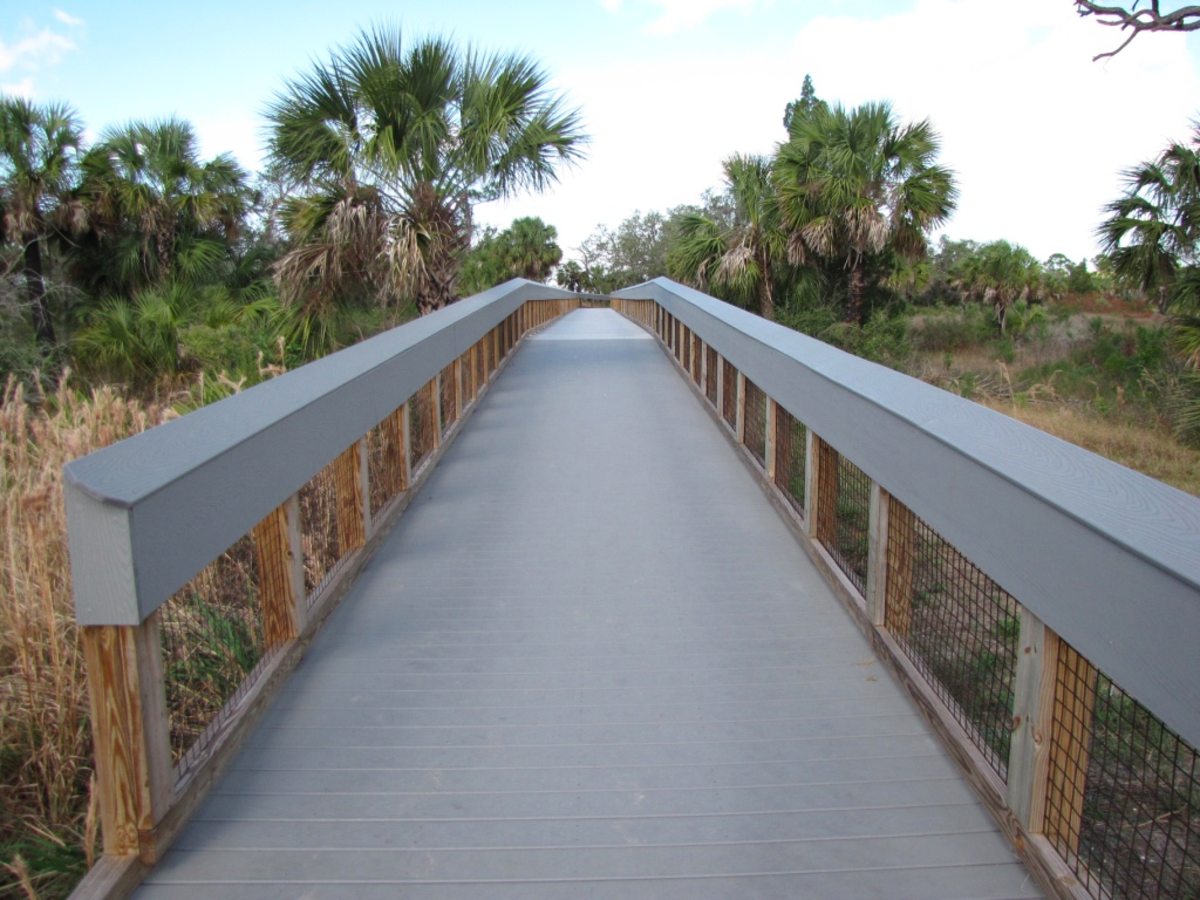 Raised boardwalk that takes you from the parking lot to the launch area.
