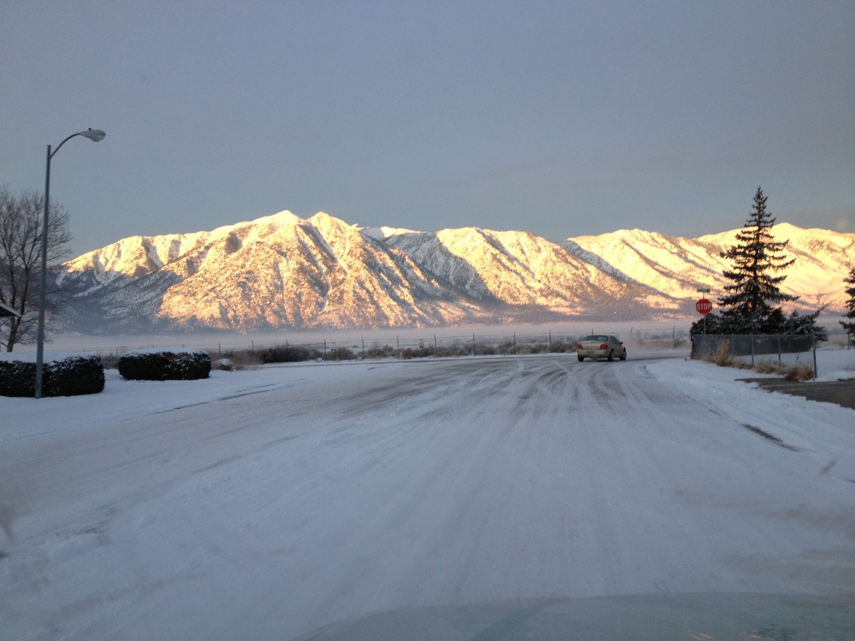 Snow in the Carson Valley With a View of the Sierra Nevada Mountains From Gardnerville