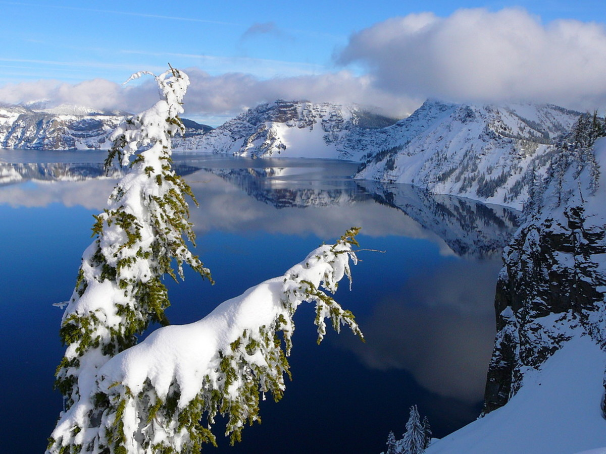 Crater Lake in winter, taken near the top of Watchman Peak.