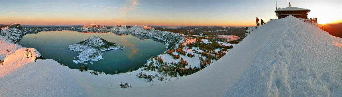 Winter view of Crater Lake from Watchman Peak fire lookout.