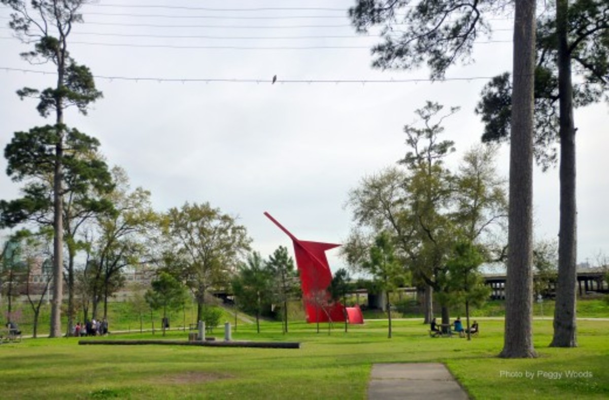"""Houston"" sculpture as viewed from back of Stude Community Center"
