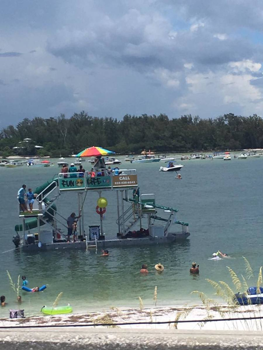 Swim out to the fun boat!