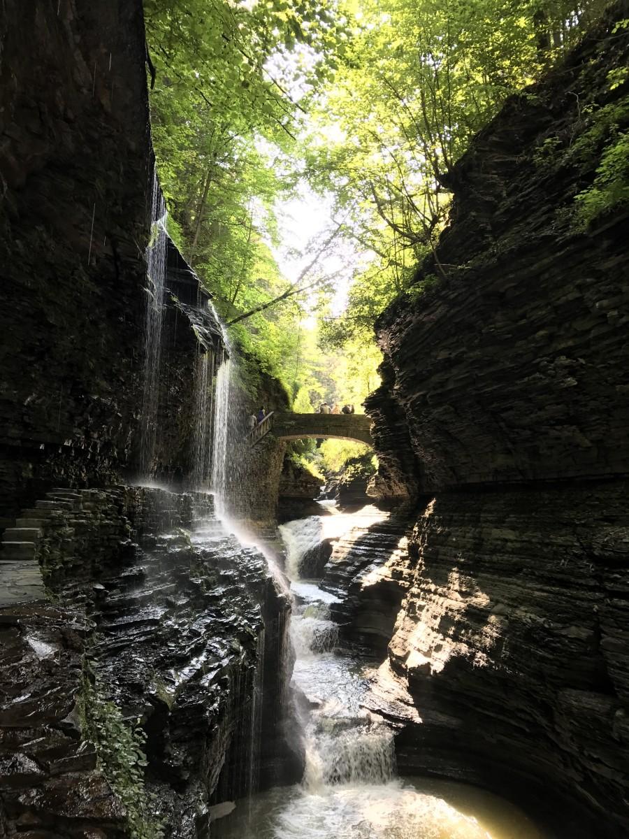 Waterfalls in Watkins Glen State Park in the village of Watkins Glen, NY. Photo by Holley Hyler.