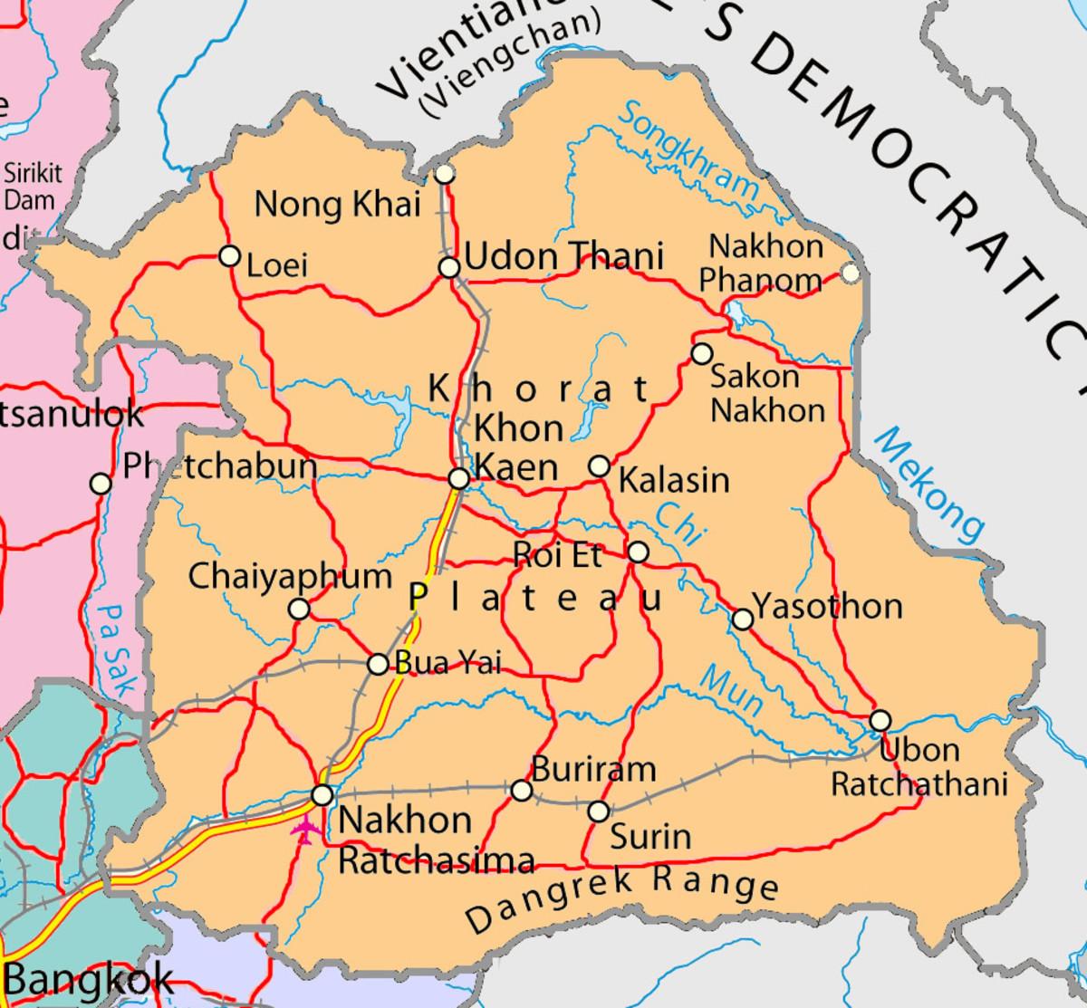 Map of northeastern Thailand  AKA Isaan