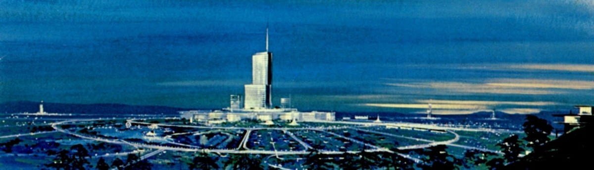 This is concept art of EPCOT's original city plan by Herb Ryman. Notice how the hub layout is similar to that of the modern day theme park.