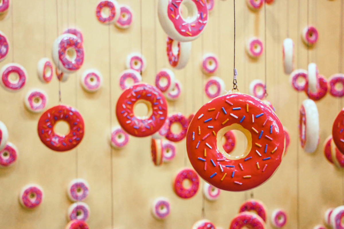 The hanging donuts in The Dessert Museum