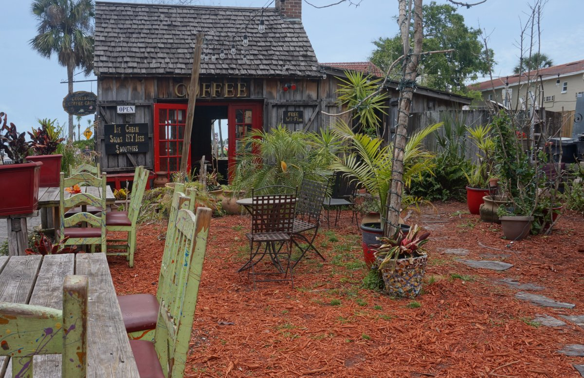 A tiny rustic coffee shop in St. Augustine's historic district.