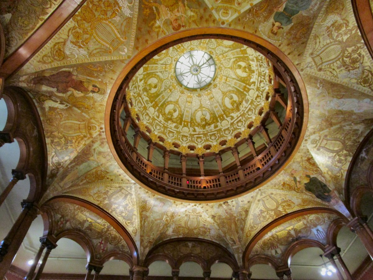 The lobby ceiling inside former Ponce de Leon Hotel, now Flagler College. St Augustine, Florida.