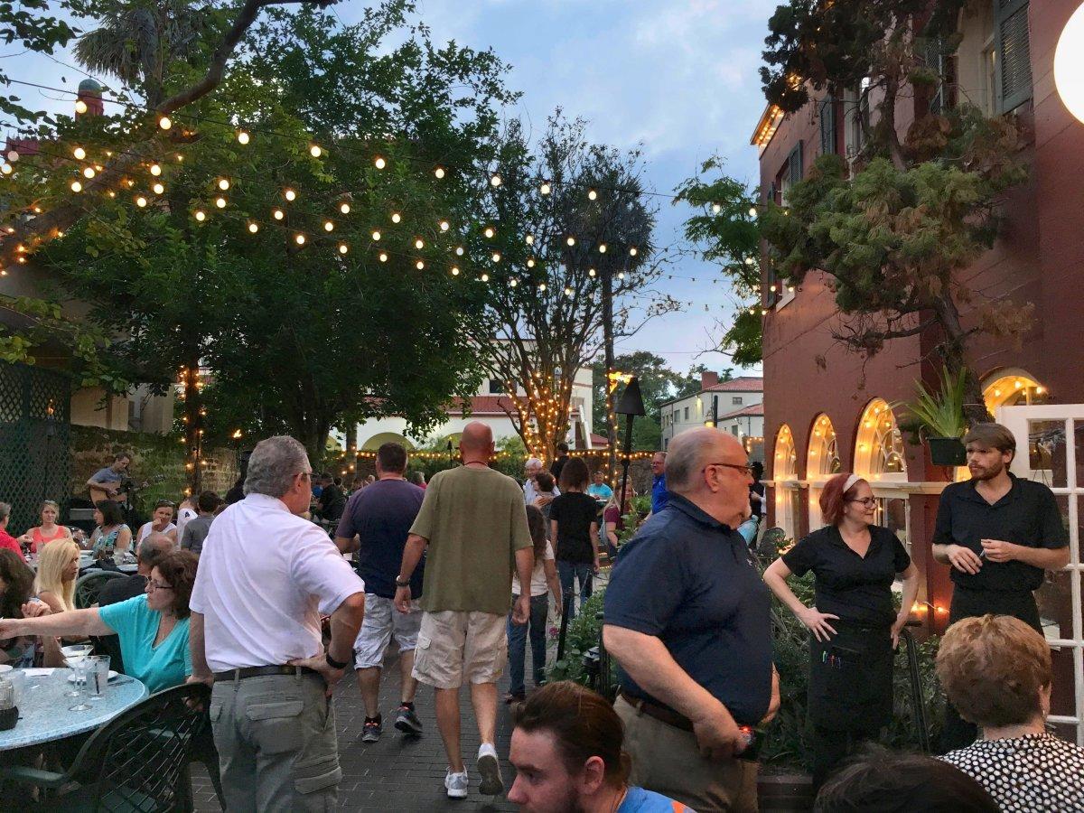 Harry's restaurant courtyard.