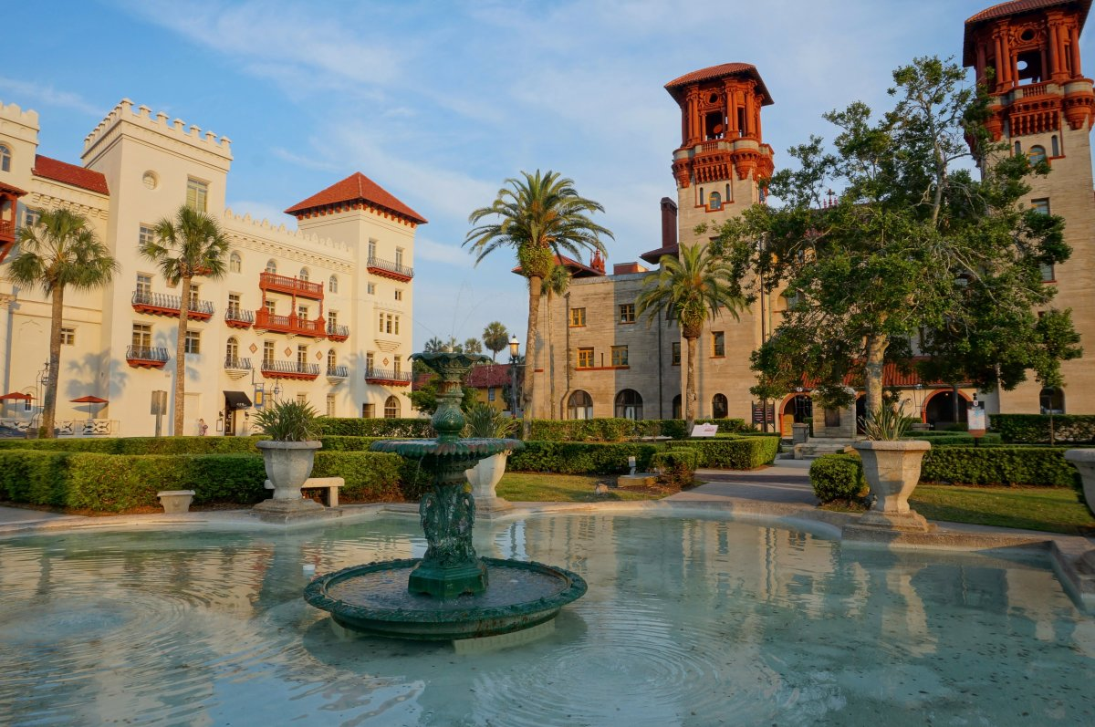 The gardens in front of the Lightner Museum, the former Alcazar Hotel.