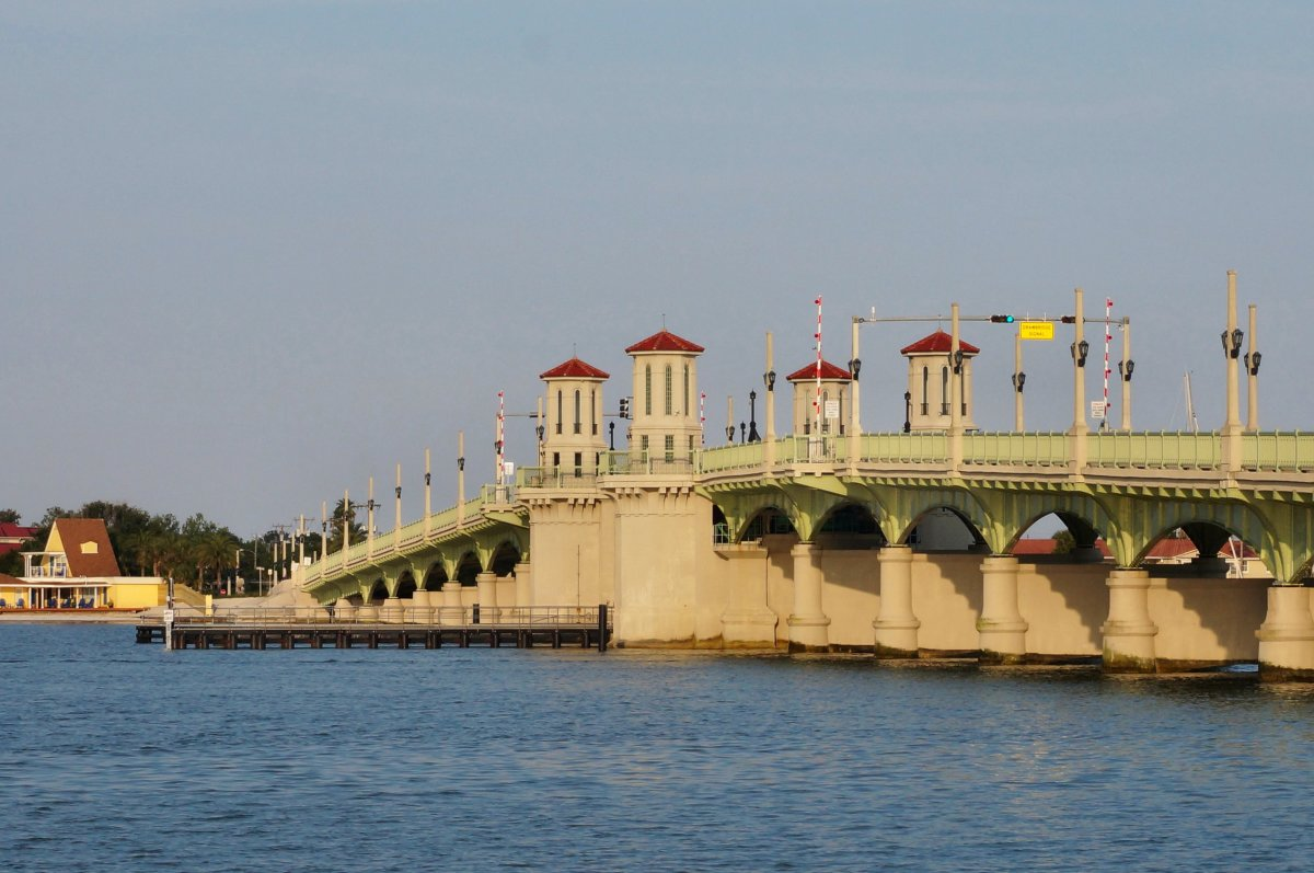 St. Augustine's Bridge of Lions at sunset.