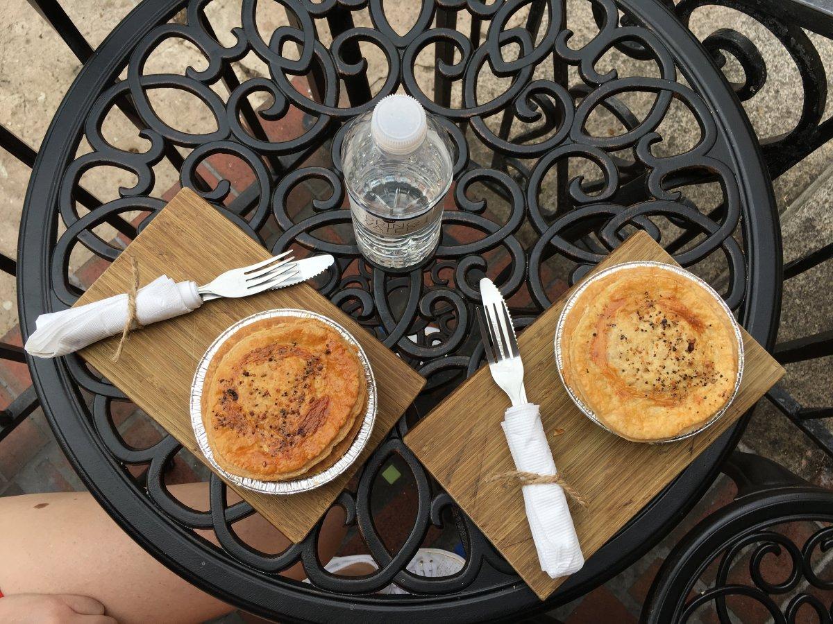 Kookaburra's breakfast Aussie pies.