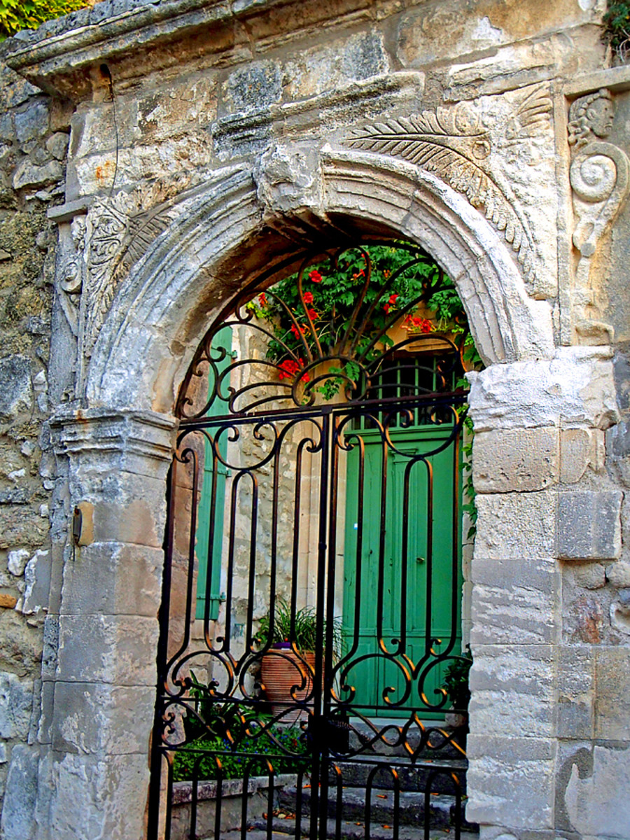An exquisite medieval stone gate in Menerbes.