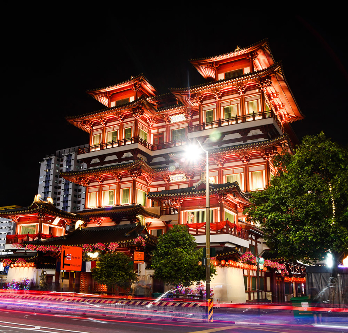 The Buddha Tooth Relic Temple and Museum is the most iconic Singapore Chinatown temple. Terrifically atmospheric when illuminated at night.