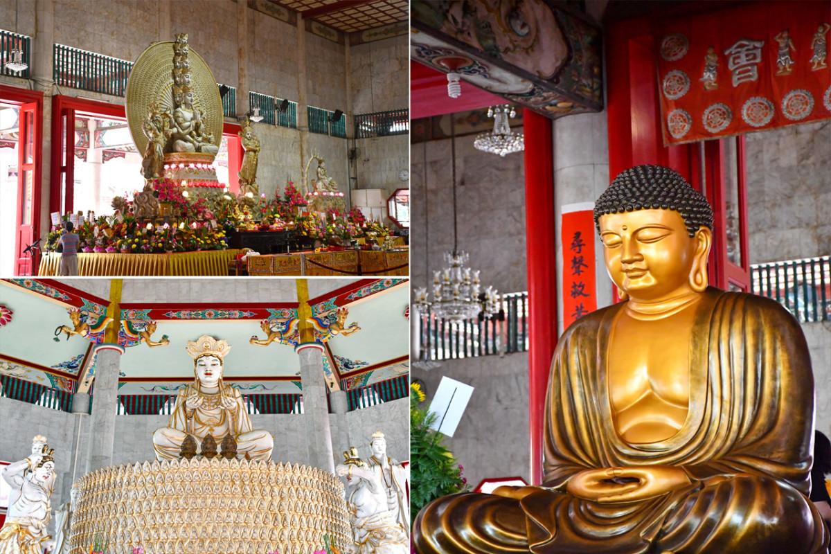 Clockwise from top left, Bodhisattva Avalokitesvara, Shakyamuni Buddha, and Vairocana Buddha.