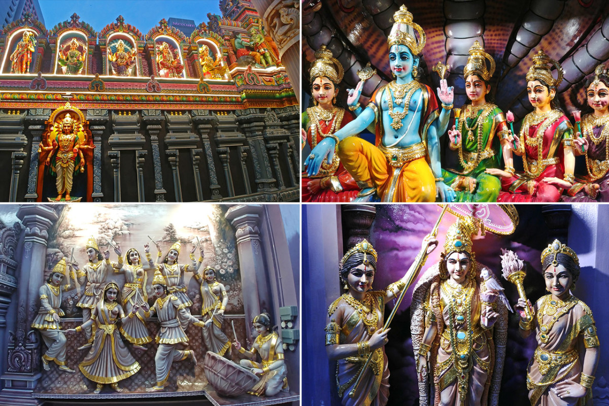 The blueish design theme is not coincidental. It reflects Lord Krishna's most famous feature i.e. his blue skin.
