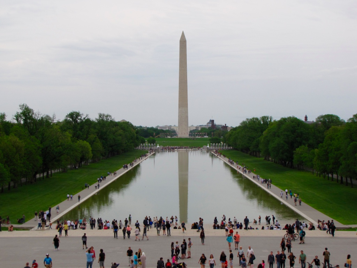 Washington Monument from the steps of the Lincoln Memorial.