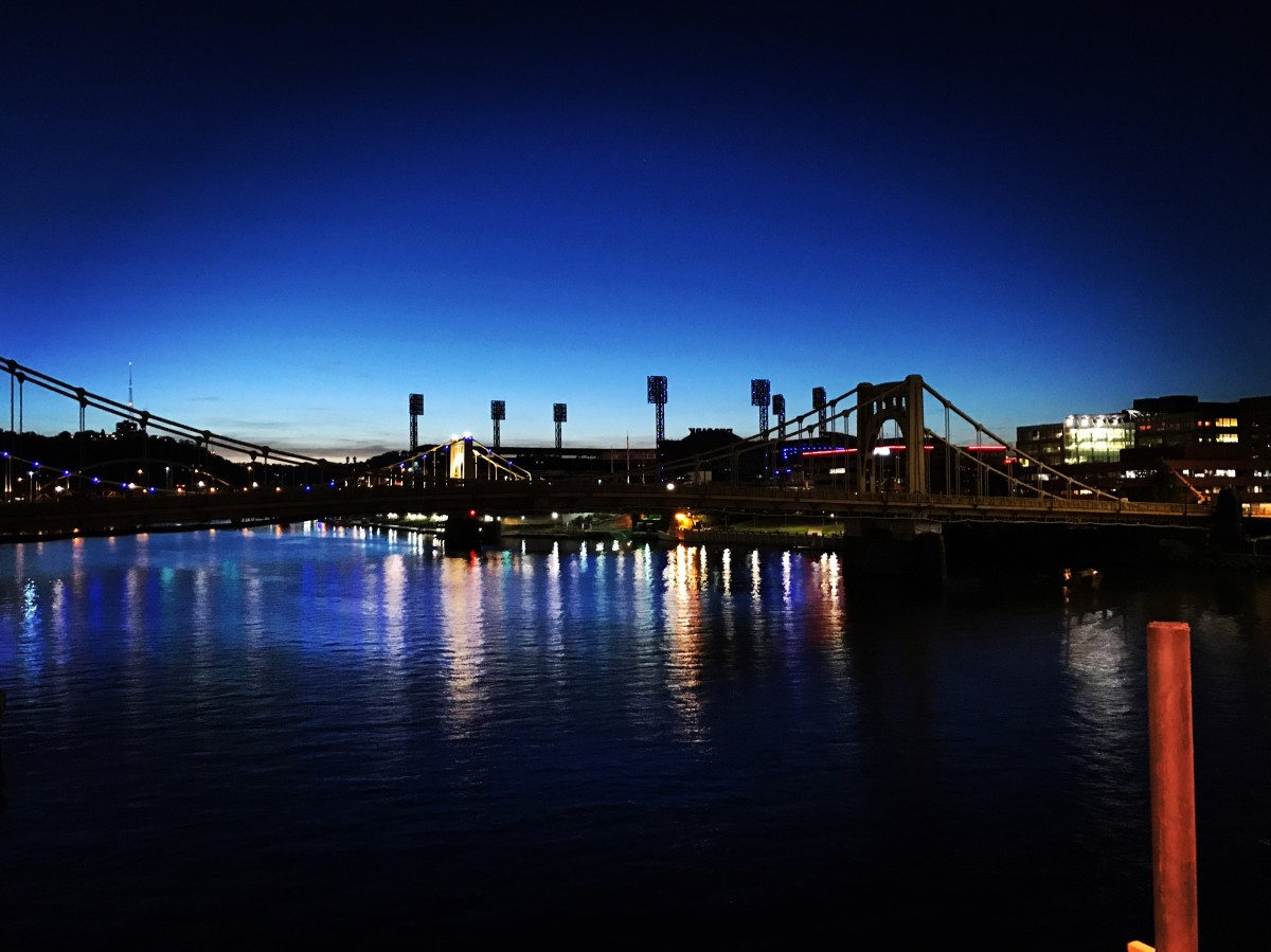 Pittsburgh at night.  There's usually some entertainment in the theater district.