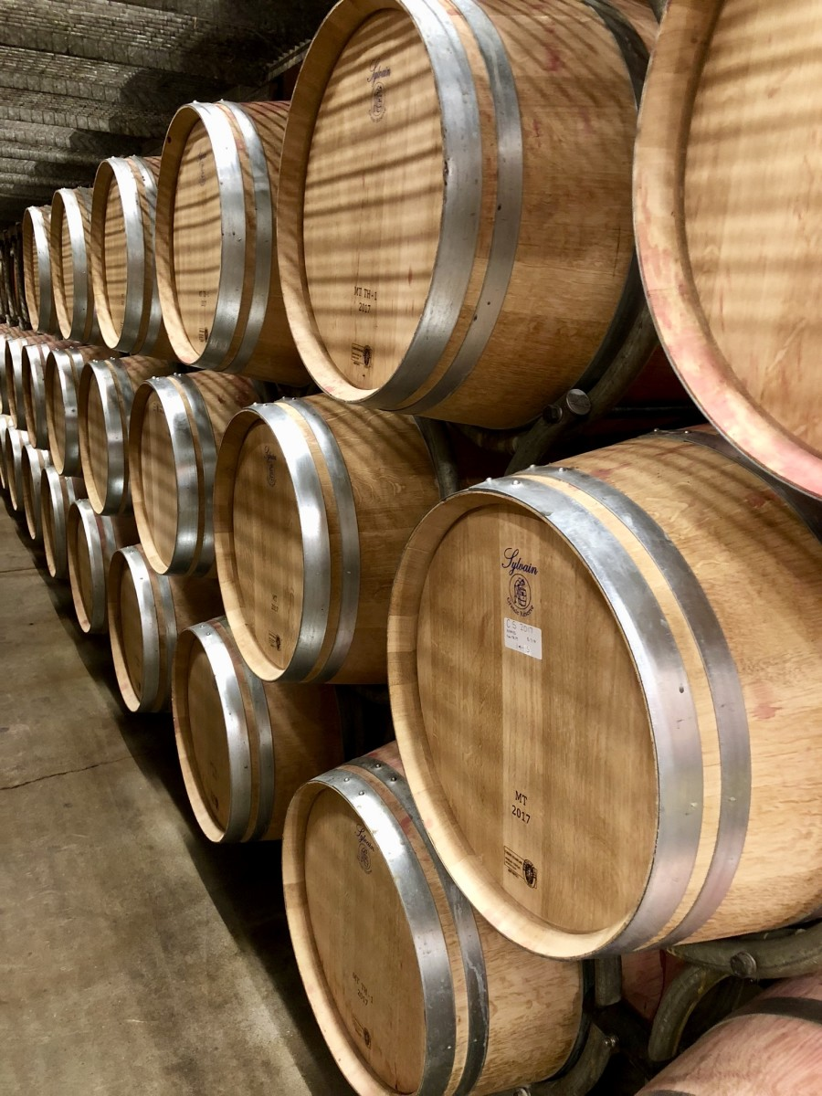 Grgich Hills Estate wine cellar oak barrels