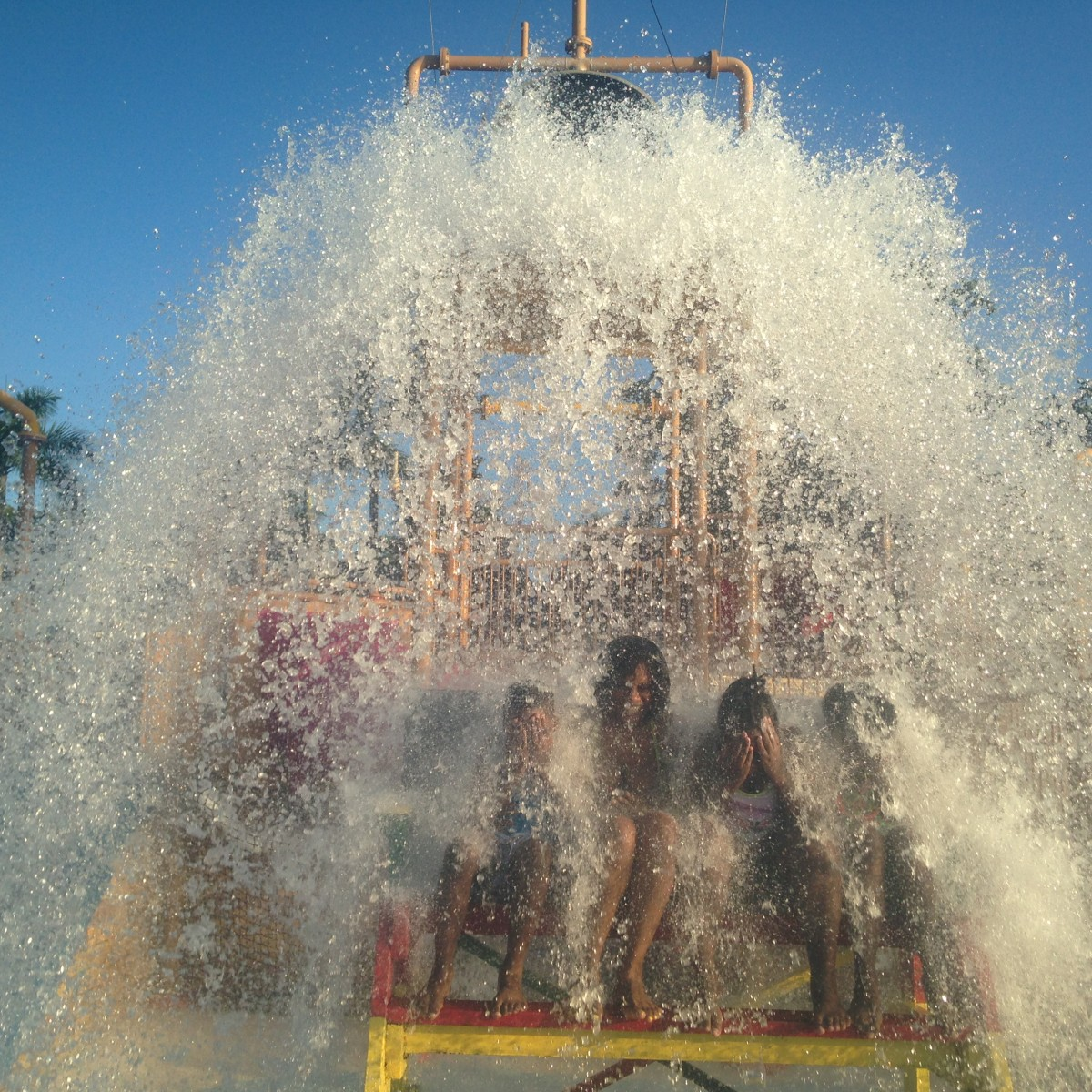 The exhilarating moment when the water bucket empties at Beaches, Negril's Pirate Waterpark