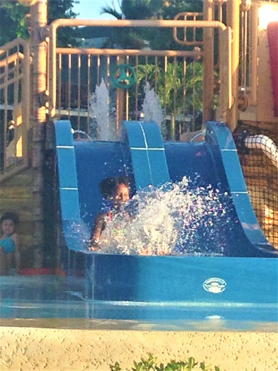 Beaches, Negril makes it easy for toddlers to have fun with tiny waterslides like this one.