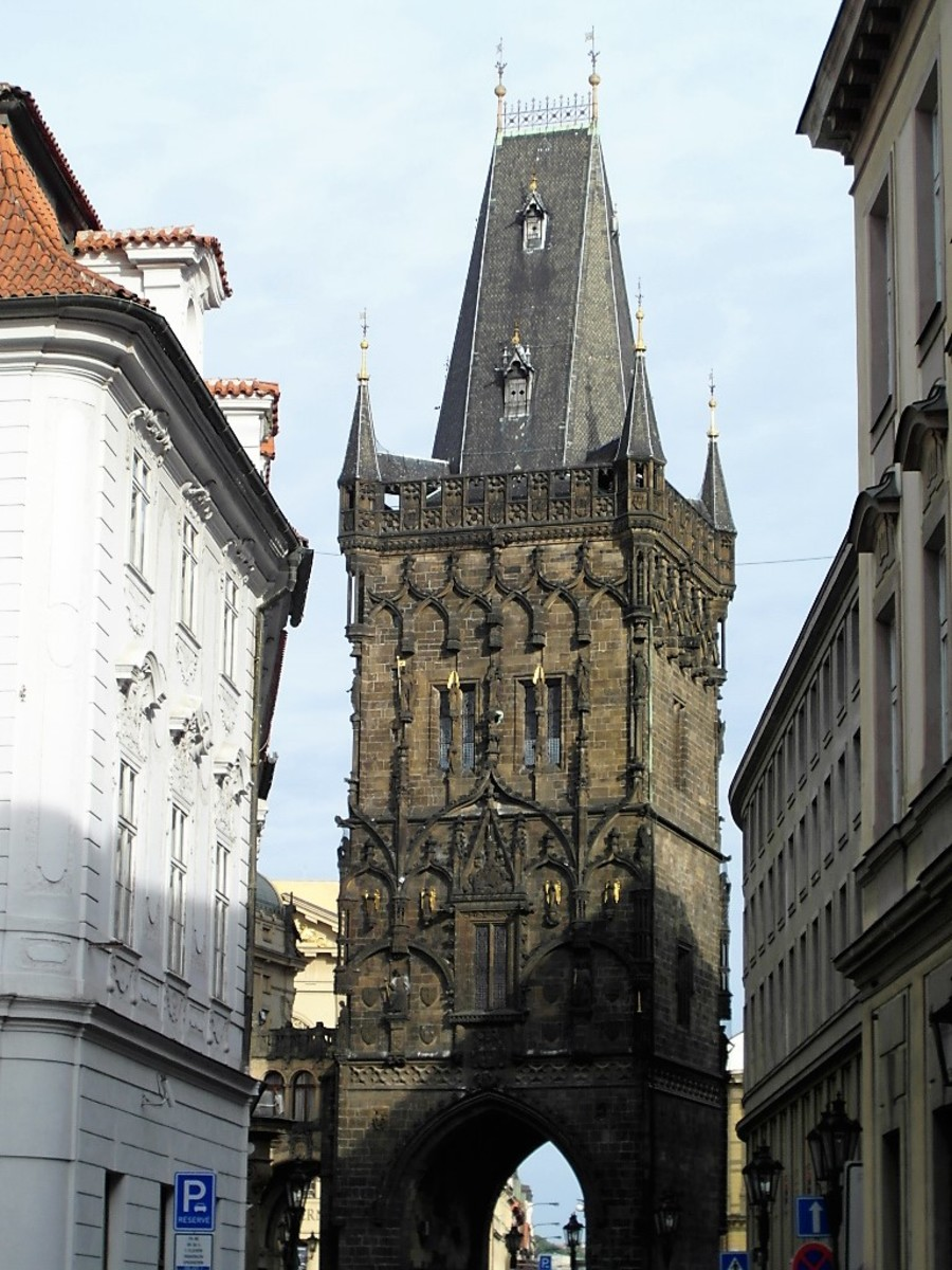 The Powder Gate, heading out of Prague Old Town.