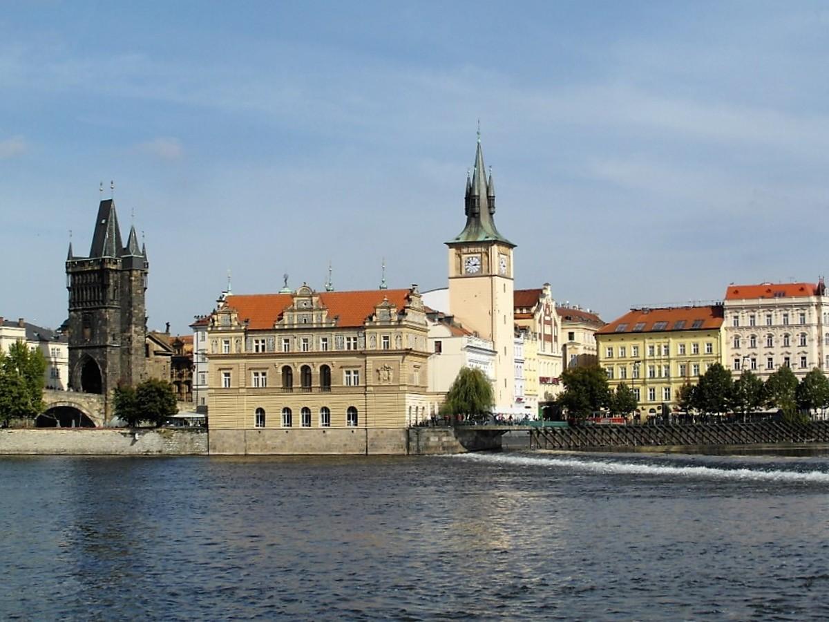 Smetana museum and Old Town Bridge Tower, Prague.