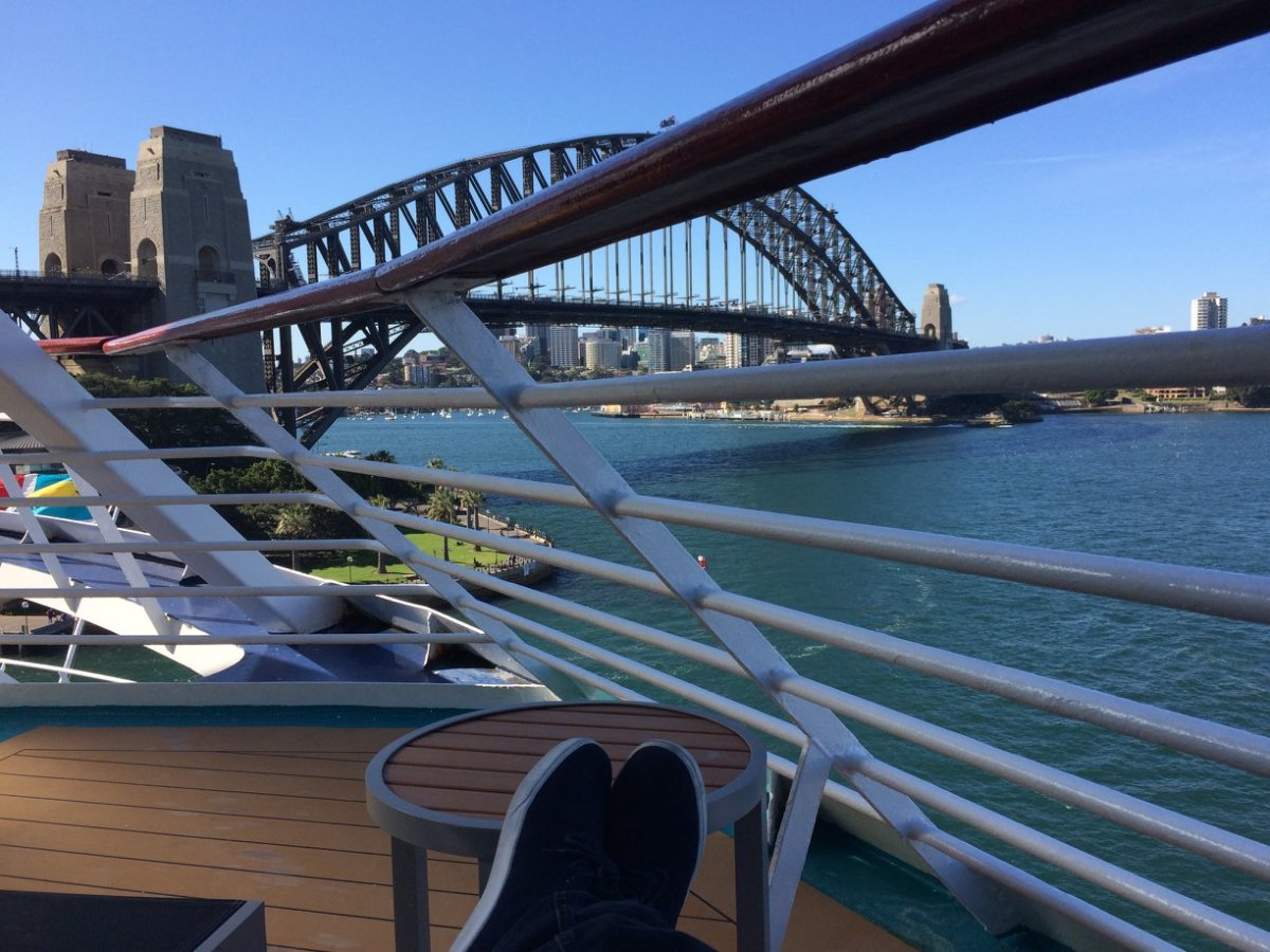 Deck with a view, prior to departure.