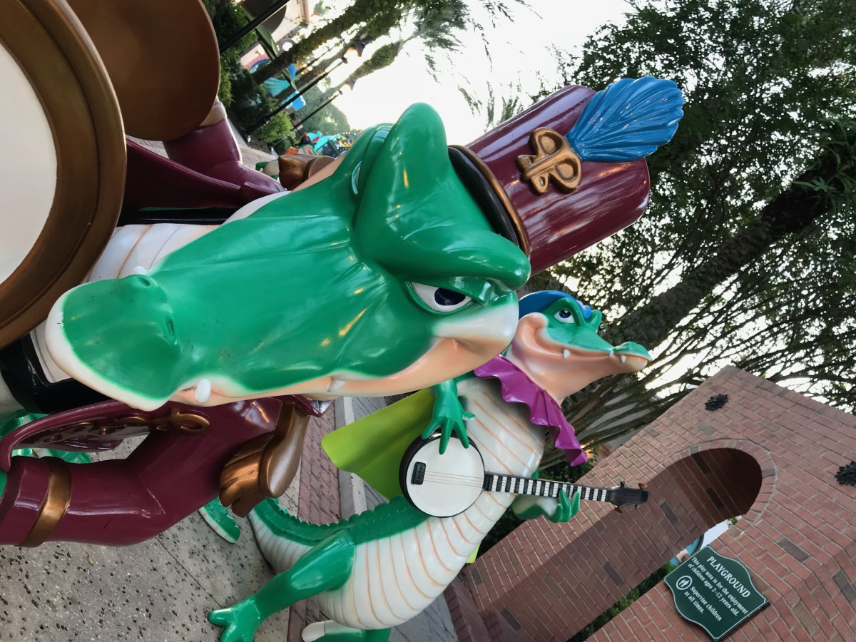 Don't worry, these gators won't bite! Fun is around every corner near the pool at the Port Orleans French Quarter resort.