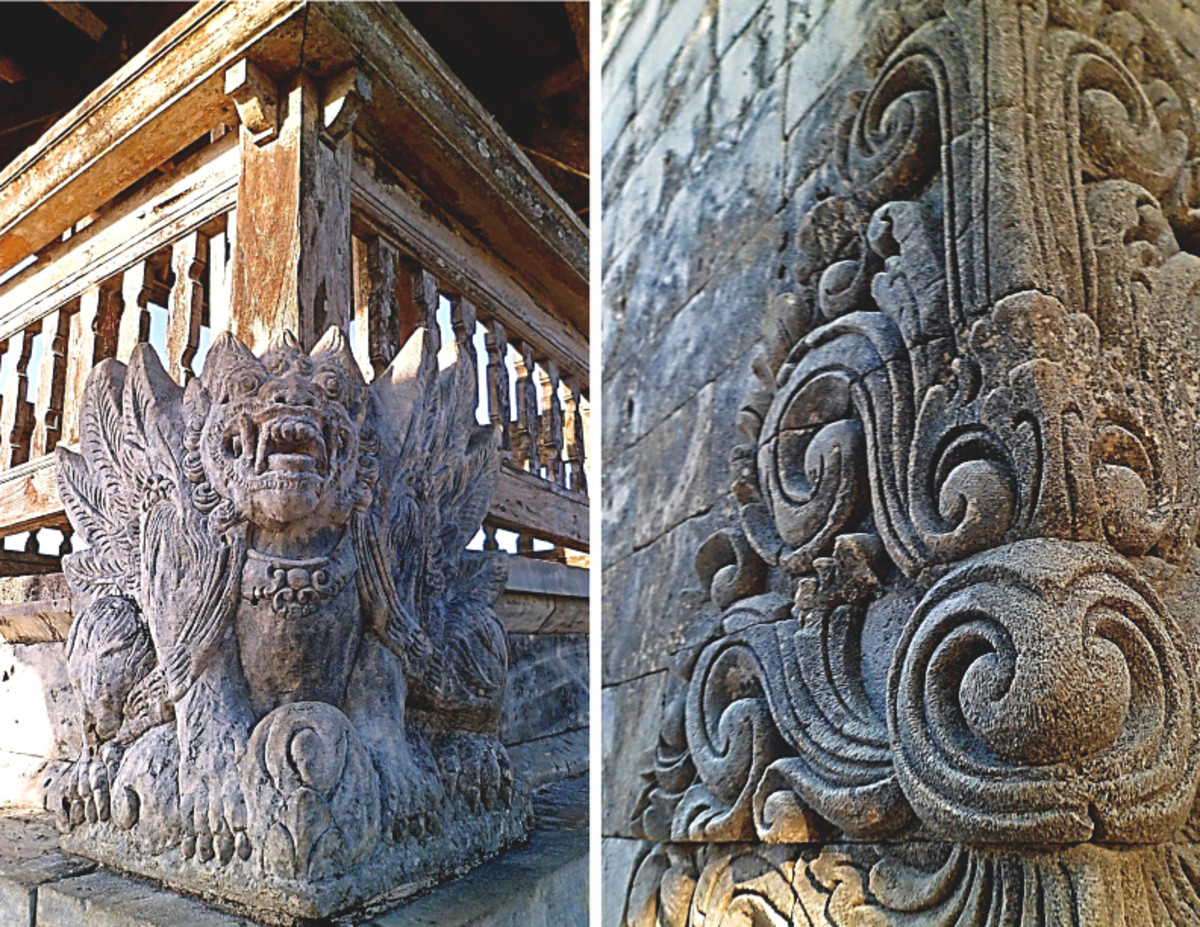 Left: One of the stone sculptures. Right: Details of stone carving on temple's gate.